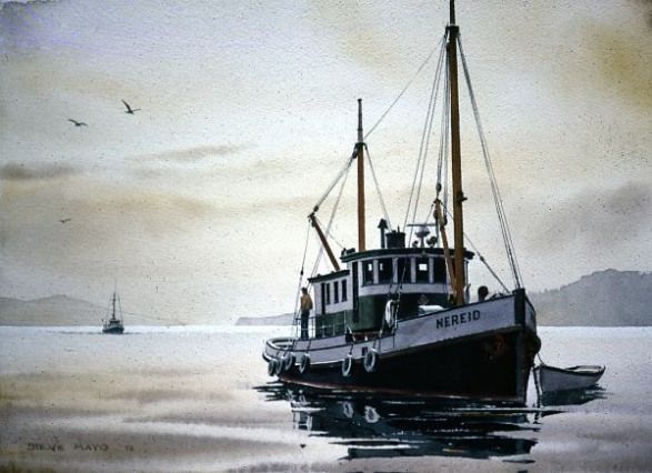 Nereid Cannery Tender Watercolor In Fishing Boat Paintings