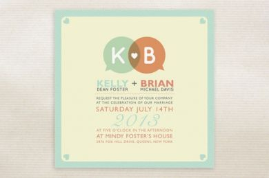 stationery invitations Love Talk Wedding Invitations by Twinkle Arts,Minted stationery ,  bold ,  heart ,  initials ,