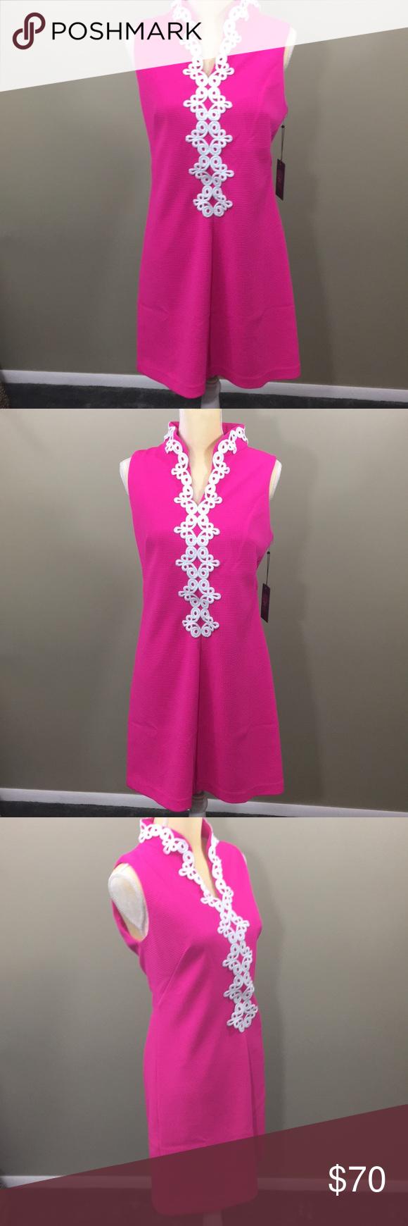 Sale Vince Camuto Dress Lace Applique Size 8 Nwt Bright Pink Dresses Hot Pink Dresses Lace Dress [ 1740 x 580 Pixel ]