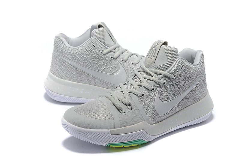 eae275e87984f 2018 Popular Nike Zoom Kyrie 3 Mens Basketball Shoes Light Grey White