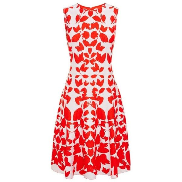 St. John Jacquard Leaf Dress (€1.065) ❤ liked on Polyvore featuring dresses, st john dresses, flared dress, red dress, jacquard dress and st. john