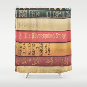 Use A Literary Shower Curtain As Backdrop To Hide Equipment Etc