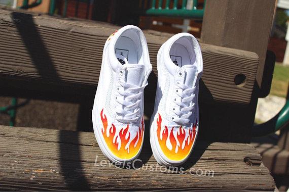 Custom Vans, Vans, Slip Ons, Custom Shoes, Custom Sneakers, Custom Vans Shoes, Vans Old Skool, Vans Shoes, Vans Custom, Red Flame Shoes