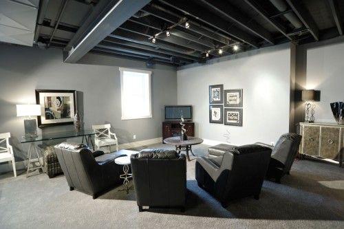 Track Lighting Dark Exposed Ceiling Basement Remodeling Basement Design Contemporary Family Rooms