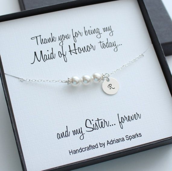 Personalized Maid Of Honor Gifts Pearl Bracelet Initial Thank You Gift For Bridesmaid Card