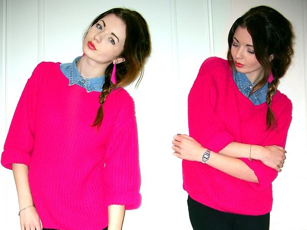 hot pink sweater. not sure about the denim, though... | My Style ...