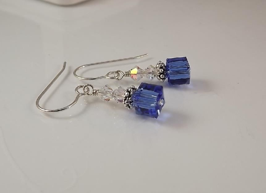 7e496a4c3608c Details about Sapphire Austrian Crystal Cube Earrings Sterling ...