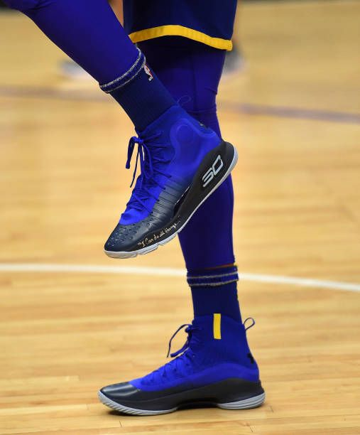 Shoes Worn By Stephen Curry Of The Golden State Warriors During Pre Game Warm Up Before The Start Of A Basket Stephen Curry Shoes Steph Curry Shoes Curry Shoes