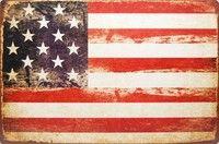 Wish | Vintage American Flag US Flag, Metal Tin Sign, Retro Style Wall Ornament Coffee & Bar Decor - 20X30cm (7.9X11.8in)