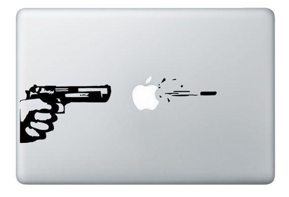 Mac Decal Gun And Bullet Apple Macbook Vinyl Decal Sticker Via - Vinyl decals for macbook