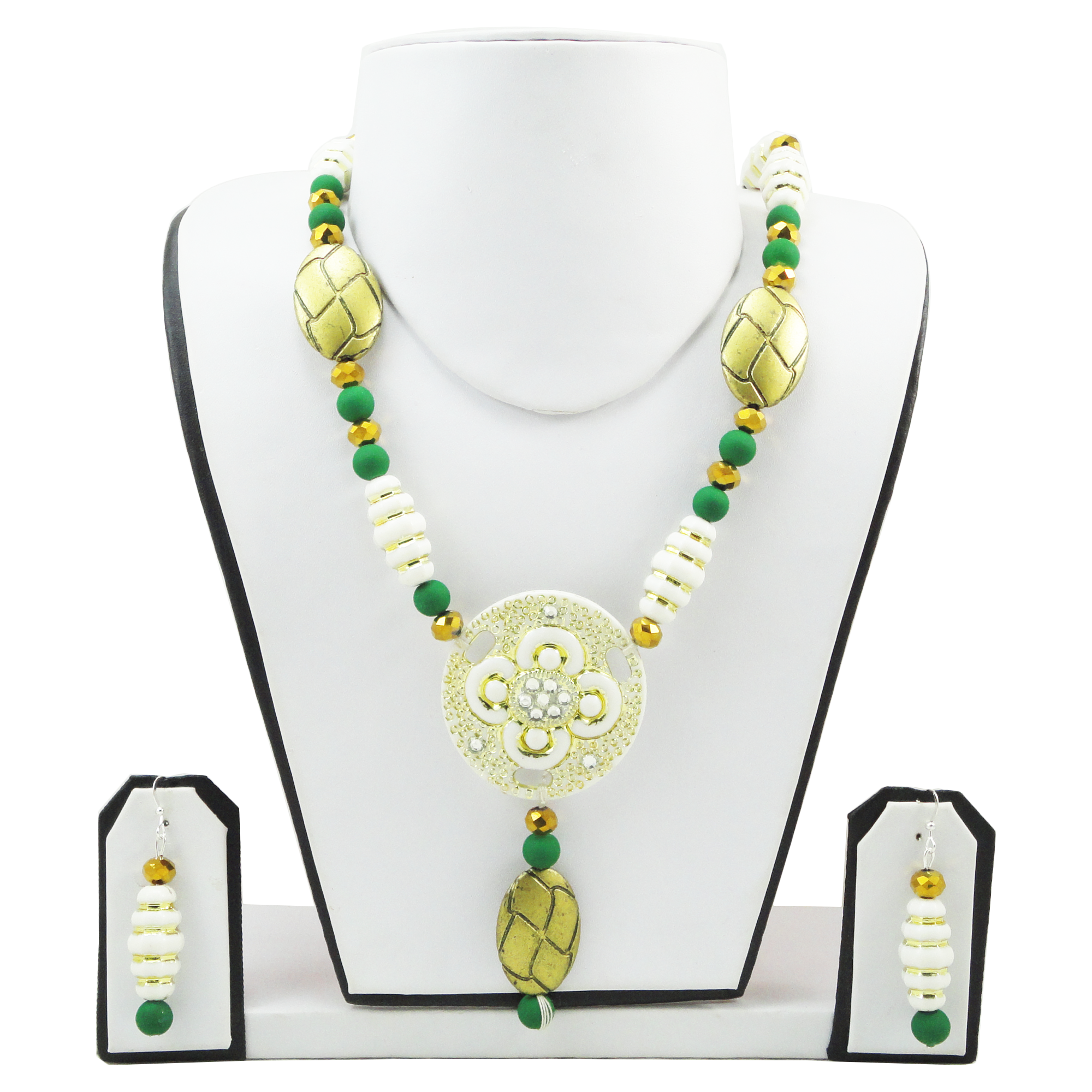 Green Beads Designer Necklace #onlineshopping #handmade #jewellery fashionvalley.in