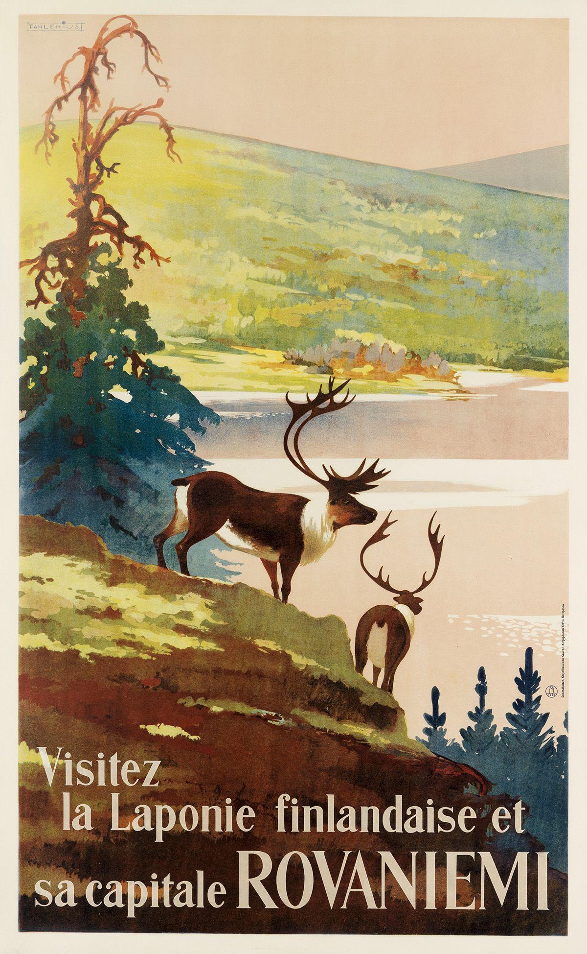 Rovaniemi Lapland  Finland Scandinavia Vintage Travel Art Poster Print