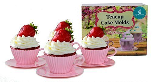 handy helpers Bulk Buys Teacup Cake Molds, 4-Pack