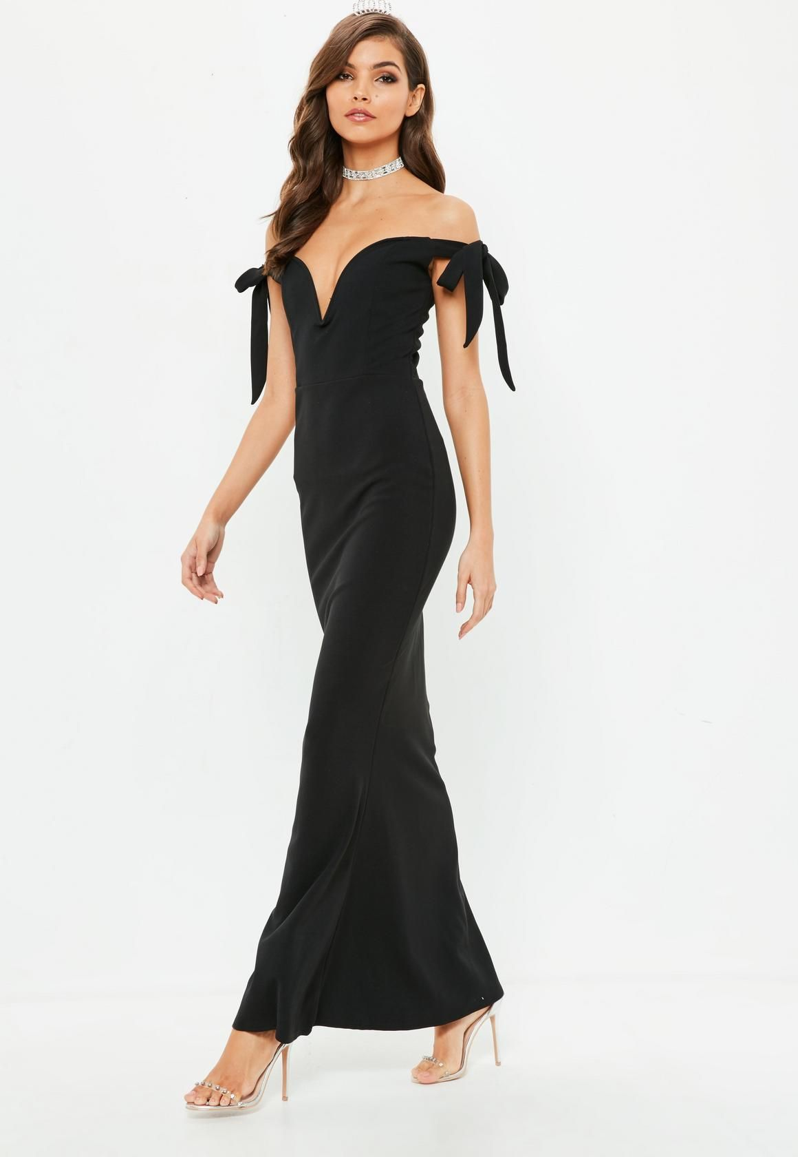 Missguided Black Sweetheart Neck Bardot Tie Maxi Dress Trending Dresses Dresses Tie Maxi Dress [ 1680 x 1160 Pixel ]