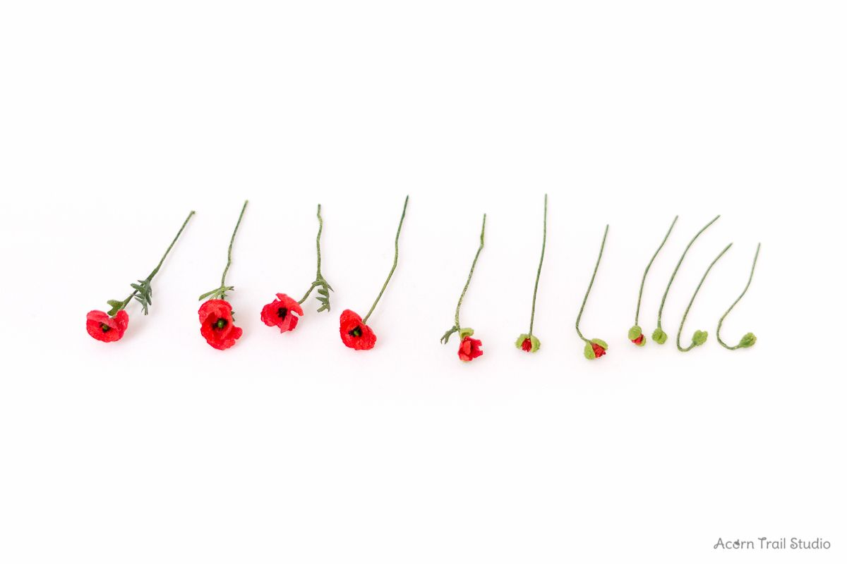 Realistic Miniature Dollhouse Scale 1 12 Poppies