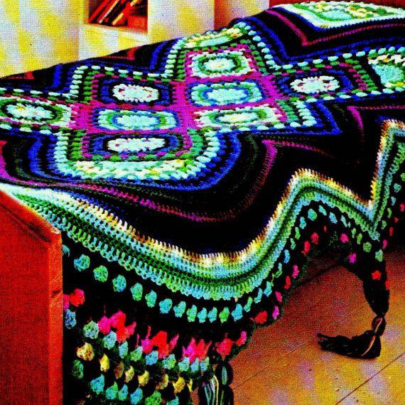 INSTANT DOWNLOAD PDF Vintage Crochet Pattern    Afghan Throw Blanket Bedspread Retro 1970s