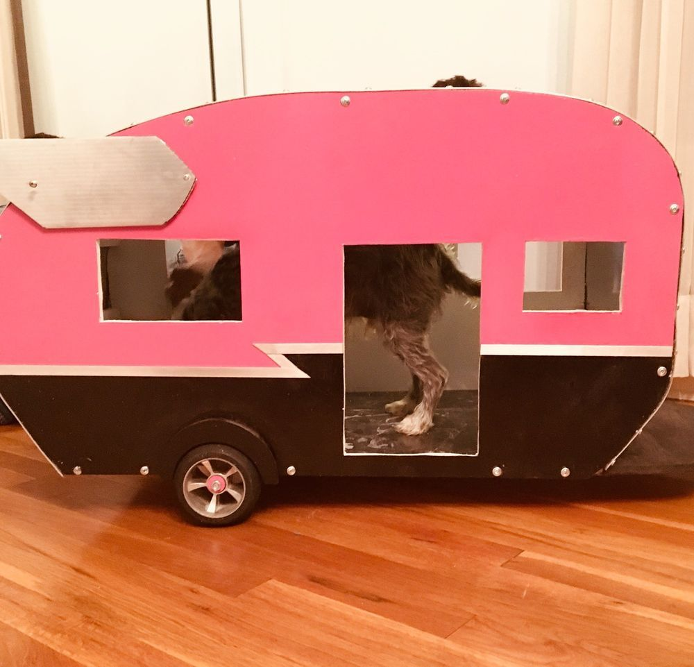 Homemade car toys  Cool Dog House Vintage retro camping trailer dog  cat pet One of a