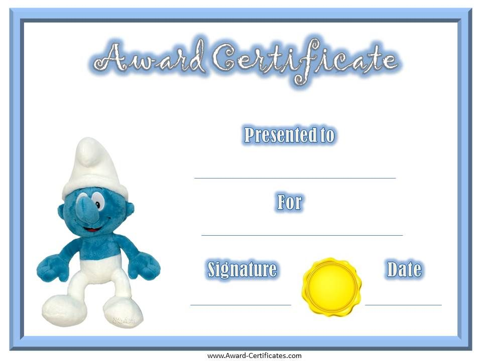 Smurf Award Certificate | Super heroes | Pinterest