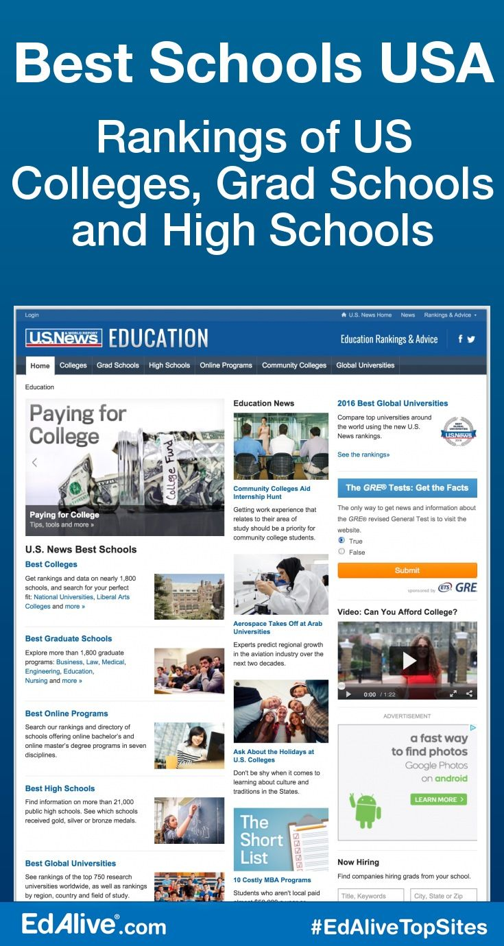 Best Colleges Grad Schools High Schools Pinterest High School