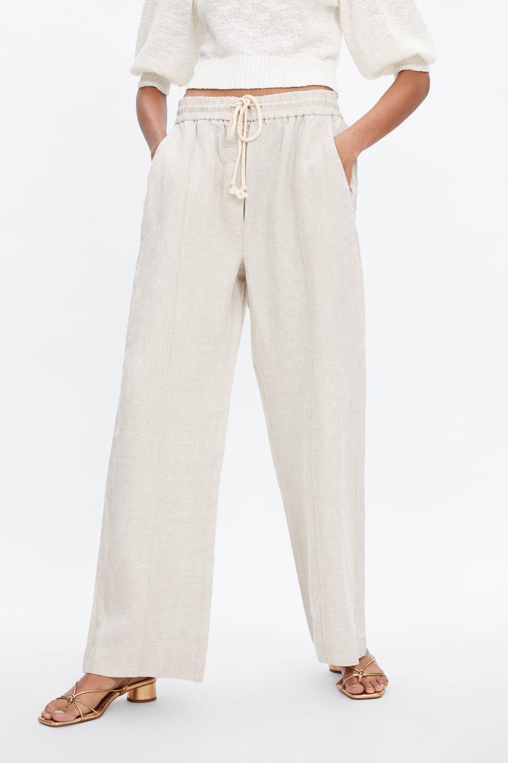 Pantalon Lino Ver Todo Pantalones Mujer Zara Espana Pantalones De Lino Pantalon Lino Mujer Ropa