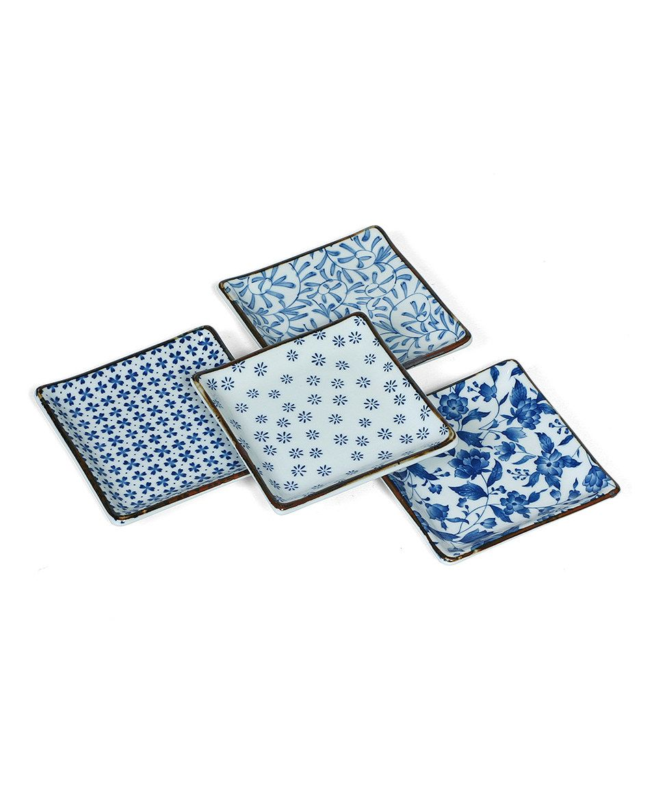 Another great find on #zulily! Blue & White 5\'\' Plate Set by Miya ...