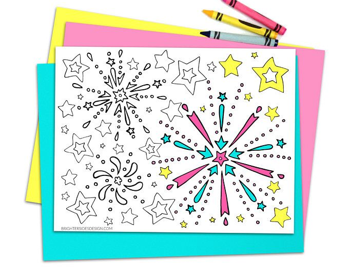 Fireworks Coloring Pages, Printable 4th of July Adult Coloring, Kids ...