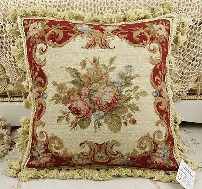 14-034-Chic-Shabby-Burgandy-Beige-Floral-Handmade-Needlepoint-Pillow-Cushion