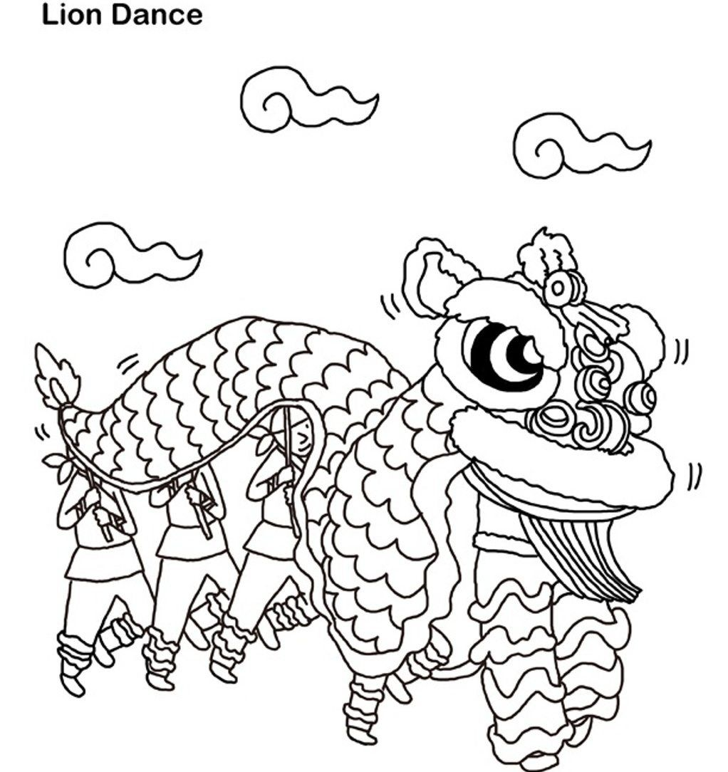 New Year Coloring, Lion Dance Chinese New Year Coloring