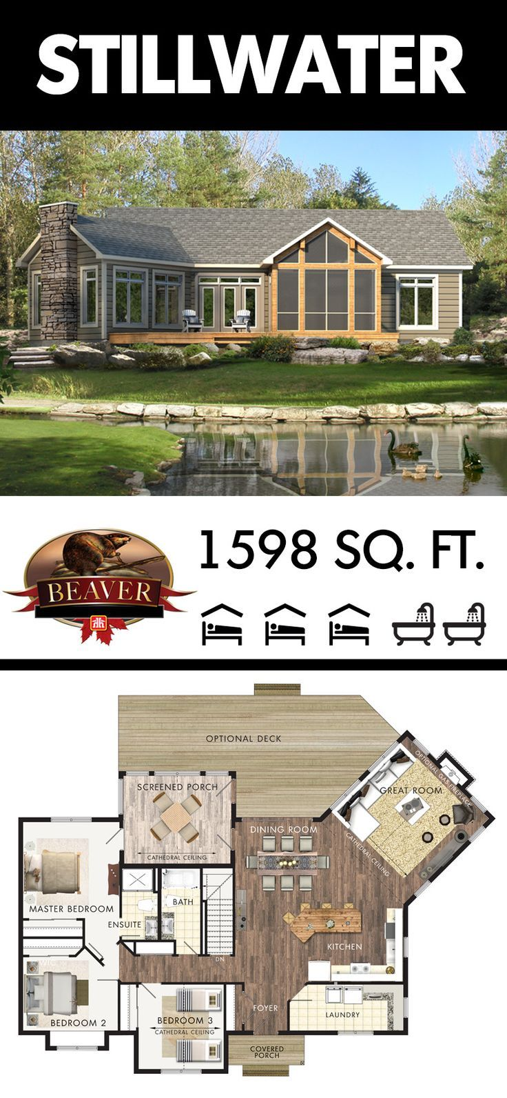 The Stillwater is a spacious #cottage design suitable for year-round living. All of the essentials are included for an endless stay. #BeaverHomesAndCottages
