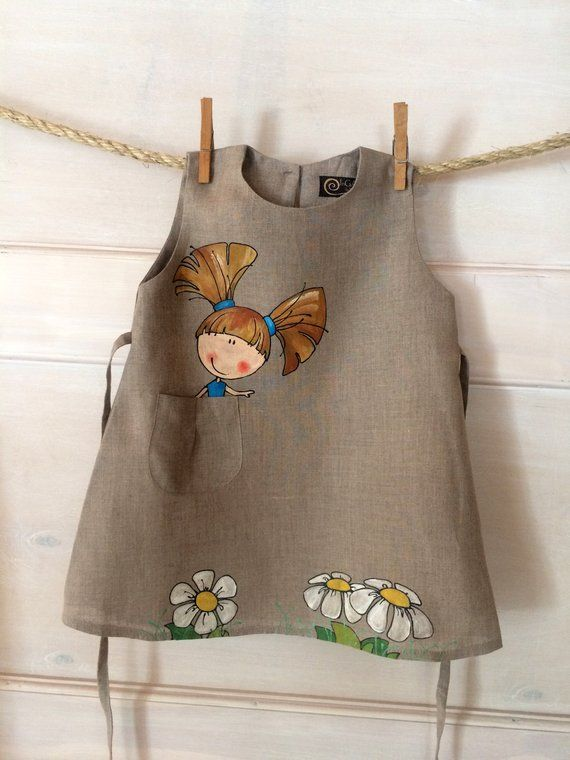 Midi baby girl painted dress with pockets for wedding. Natural grey linen kid outfit #dollcare