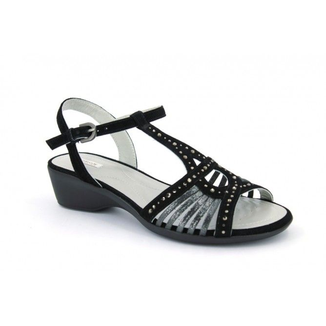 Geox New Coral D-42S3-E Sandalias Casual Mujeres Negro