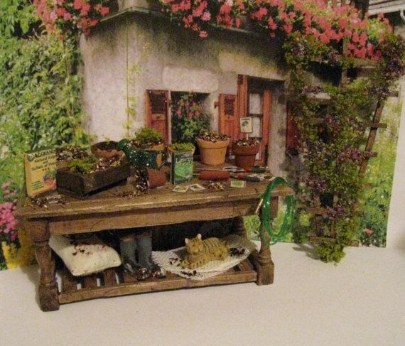 Mini. potting table, filled Doll house Potting table,miniature ...
