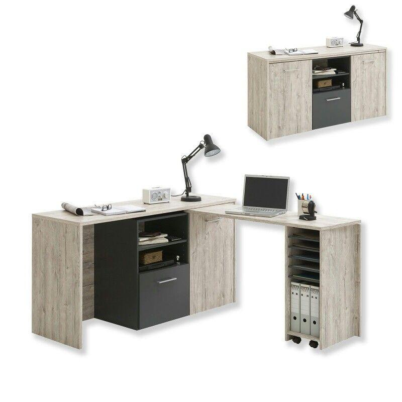 Schreibtisch Drehbar Roller Schreibtisch Eckschreibtisch Sandeiche