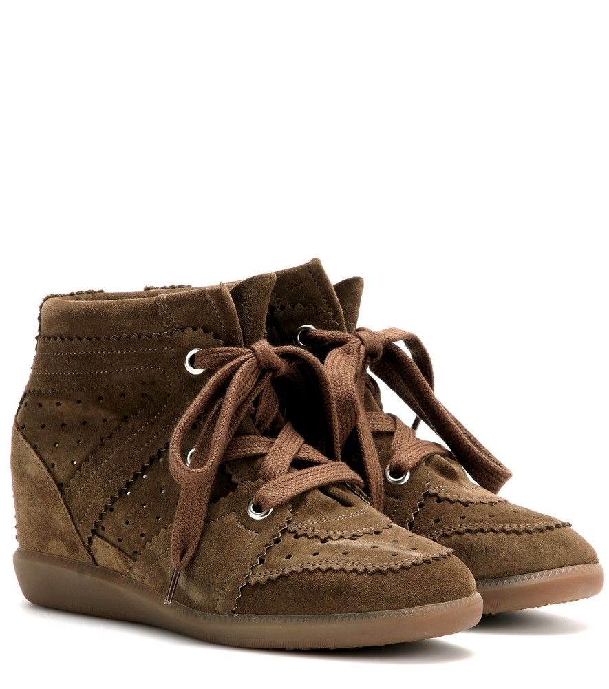Isabel Marant - Étoile Bobby suede wedge sneakers - With the lower concealed-wedge heel and neutral brown hue, Isabel Marant Étoile's suede 'Bobby' sneakers are a must for busy girls on the go. Wear them the Parisian way with a flared miniskirt and a sweatshirt. seen @ www.mytheresa.com