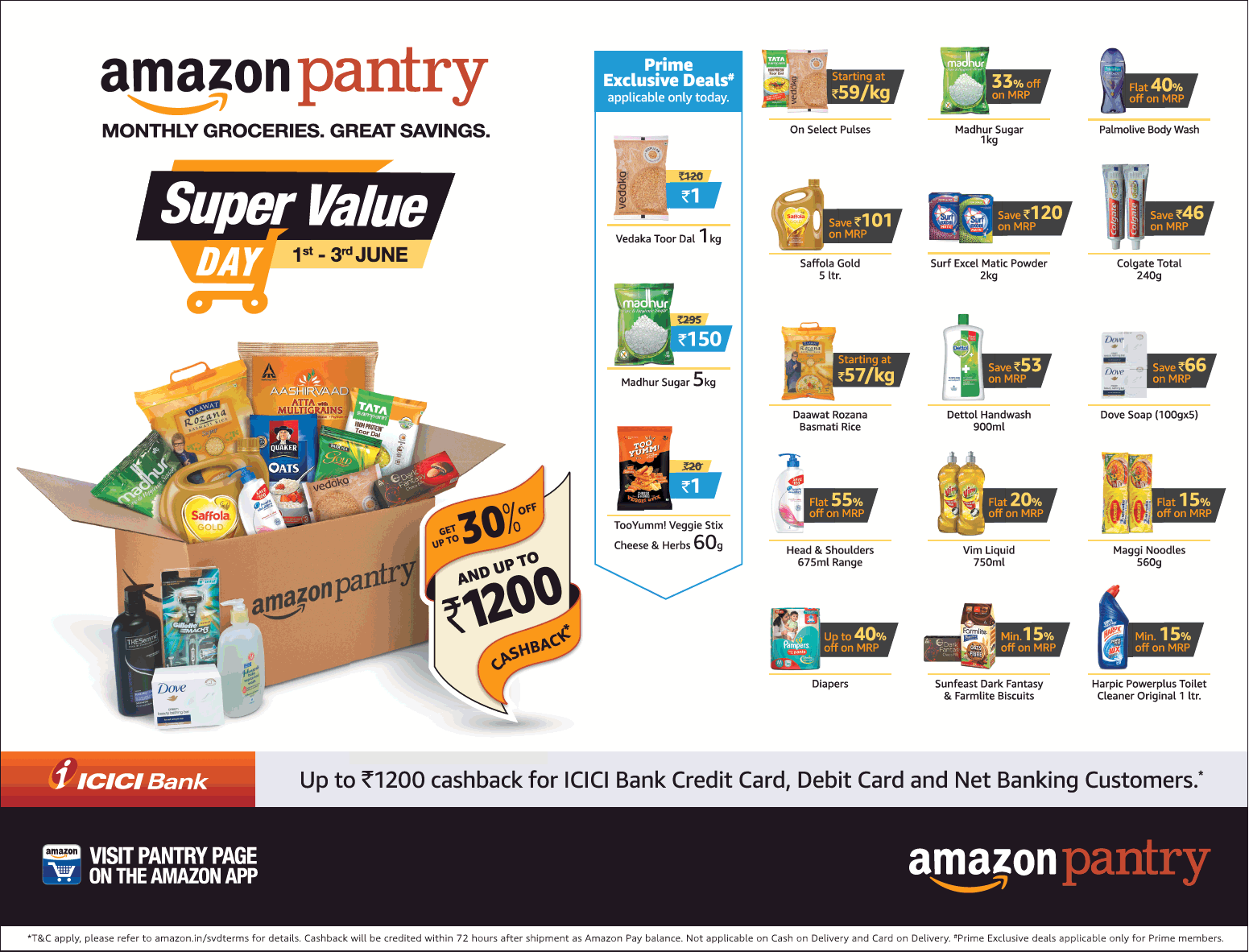 Amazon Pantry Super Value Day 1 To 3 June Ad Times Of India Mumbai Check Out Amazon Advertisement Collection At Https Www Ad Ads Newspaper Advertisement Day