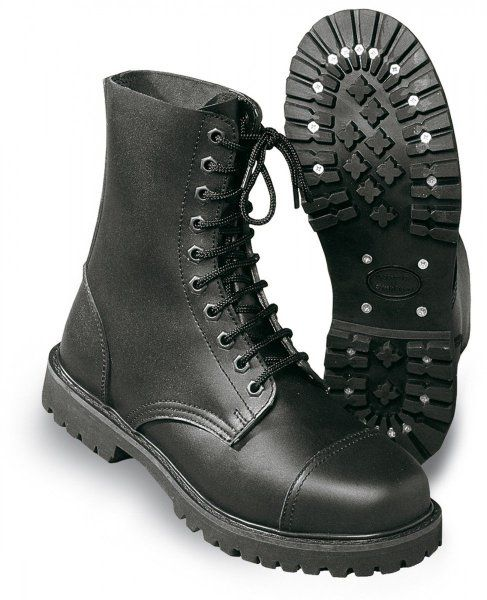 British Rangers Invader Black Leather Combat High Leg Mens Army Boots 10  Holes