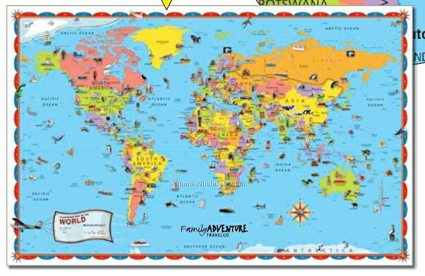 Illustrated Wall Map Of The World Kids World Map Maps For Kids