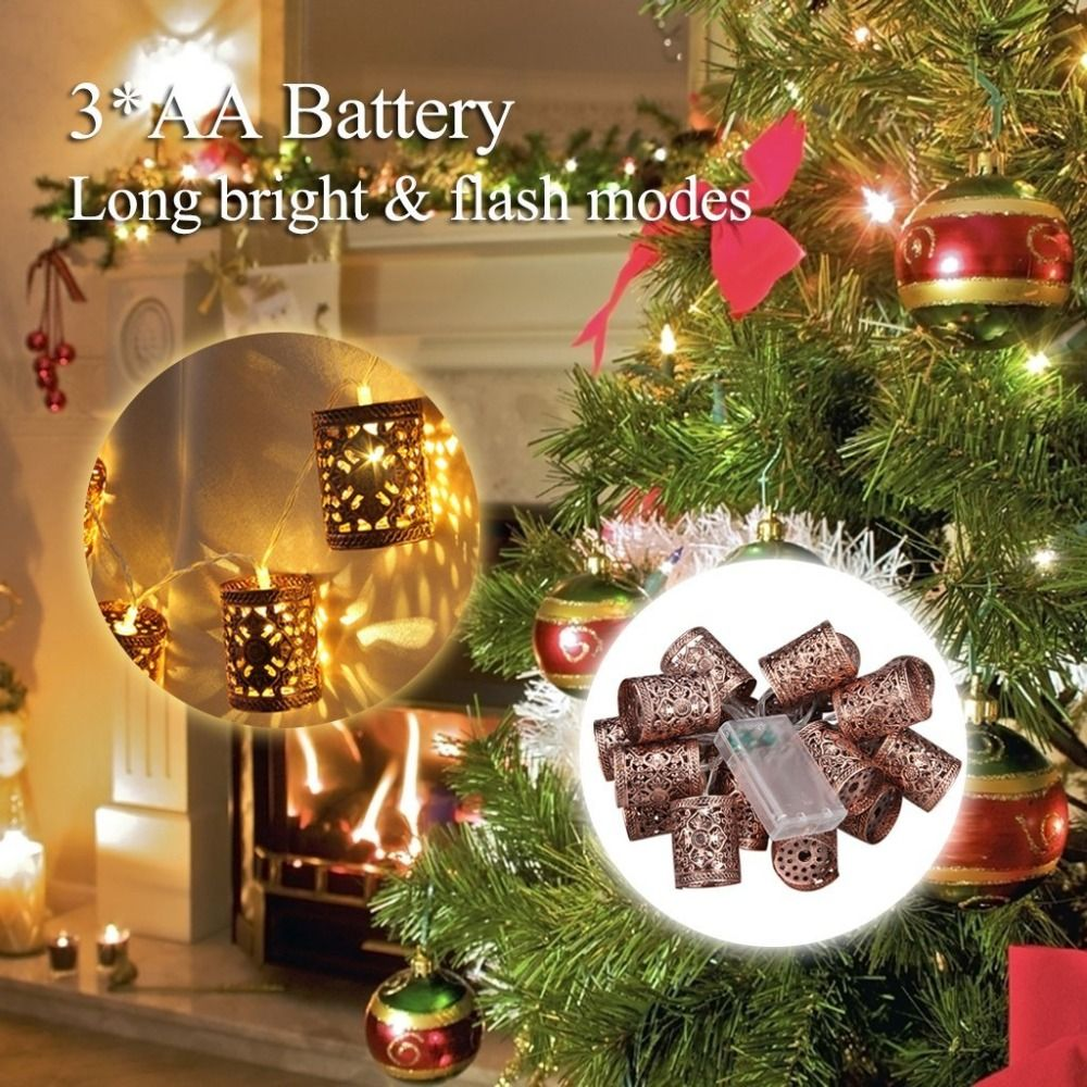steel retro round lantern battery operated led fairy string christmas lights diy