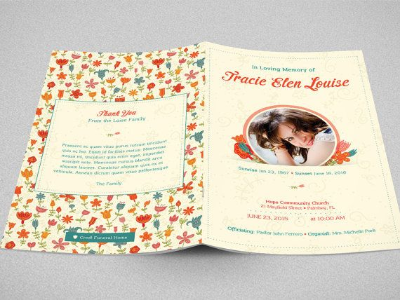 Floral Glory Funeral Program Template is designed with beautiful