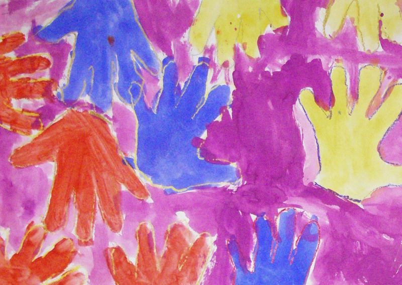 Kindergarten Art with Mrs. Brown - hand tracing, primary and secondary colours, identity