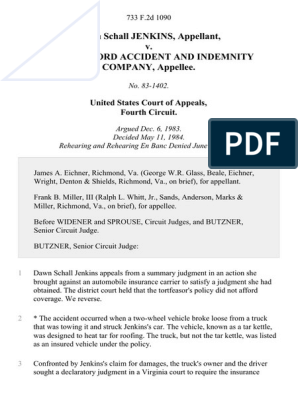 Dawn Schall Jenkins V The Hartford Accident And Indemnity Company