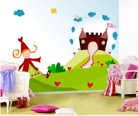 Mural princesa con castillo cuartos pinterest for Stickers habitacion nina