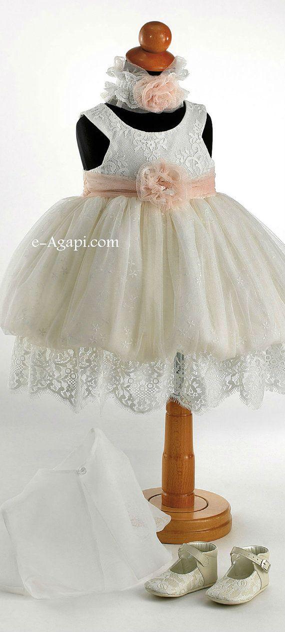 33032ffb0770d Vintage christening dress * Flower girl Lace dress * Greek baptism ...