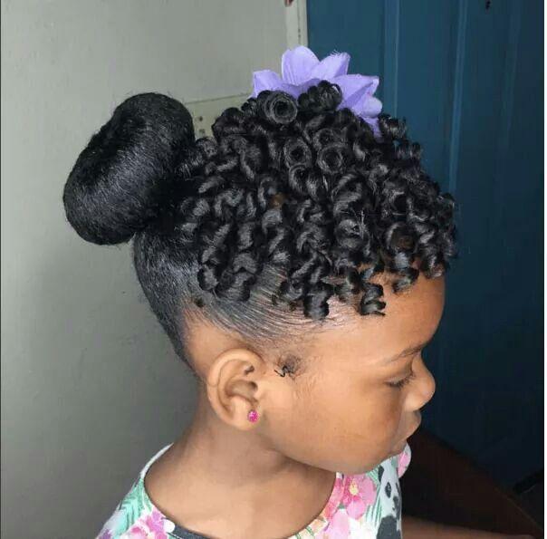 Natural Hair Bun Hairstyles For Black Kids
