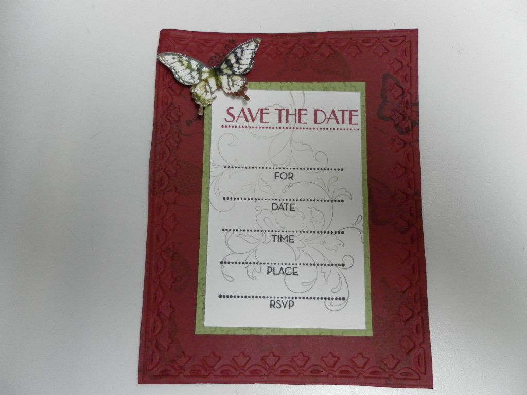 The beautiful Save the Date card my friend  made me for my Mother's 84-1/2 birthday party next year. Thanks Cindy. :-)
