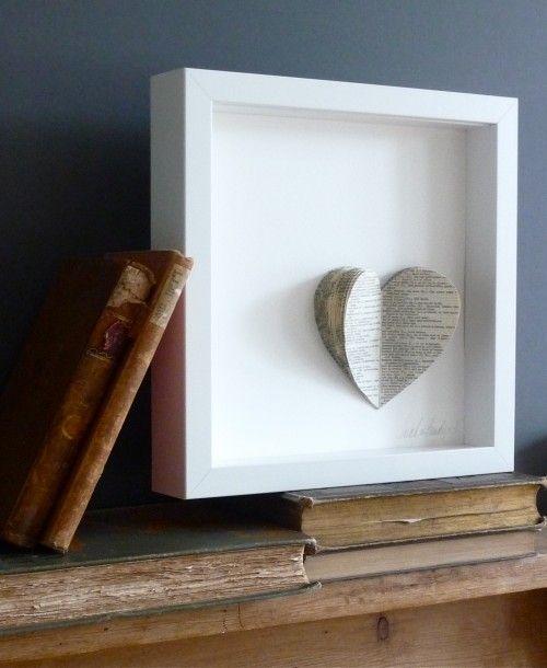 Simple / Bookshelf Styling / White Vintage Paper Heart