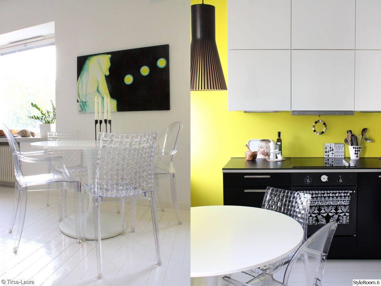 Mustavalkoinen, keltainen seinä, taulu.
