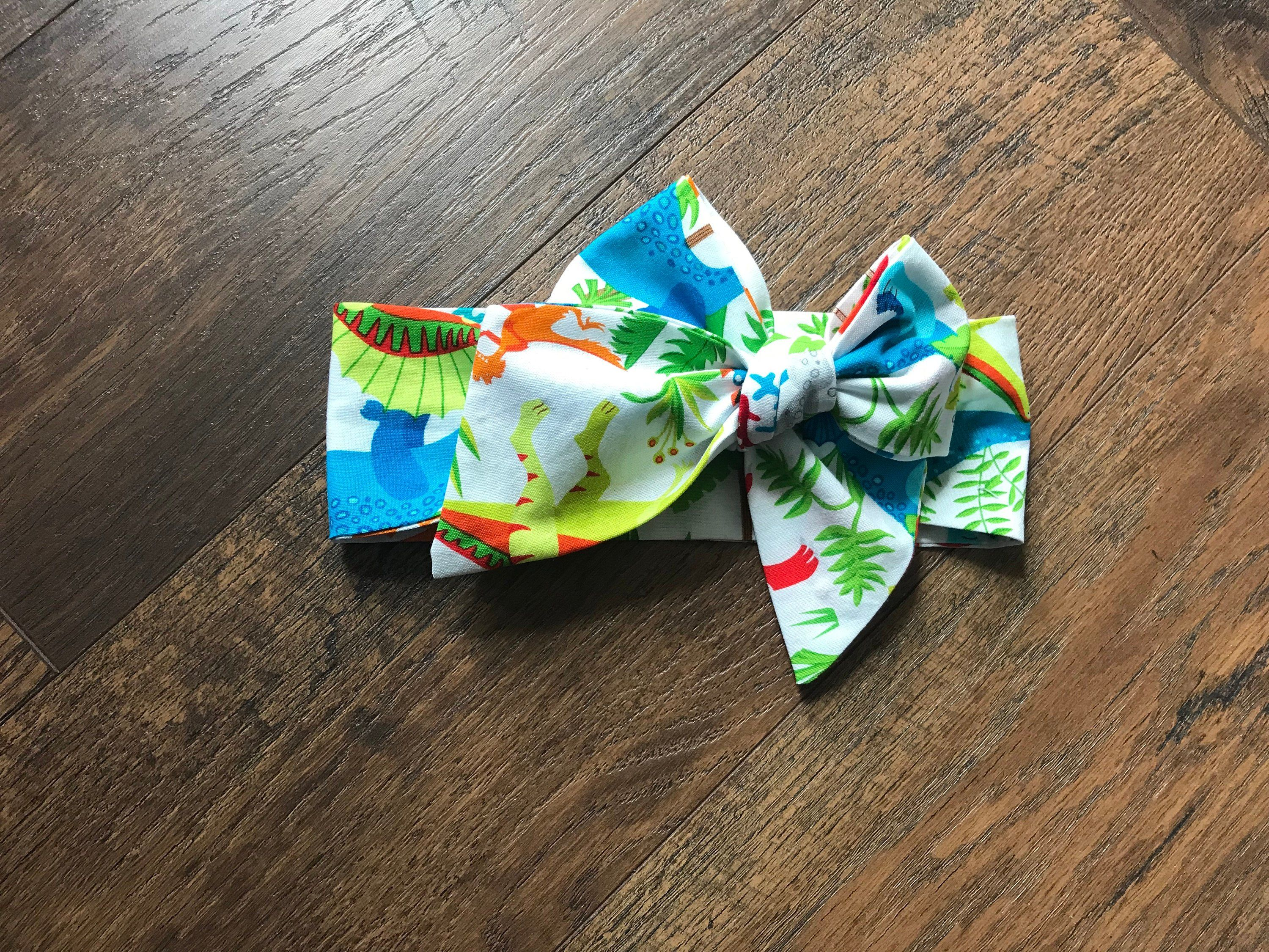 Dinosaur multicolour hair scrunchie With or without a bow