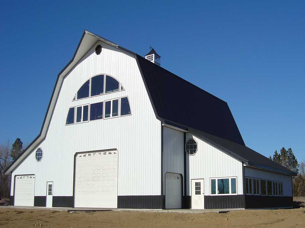Gambrel pole building house pinterest gambrel barn for Gambrel roof metal building