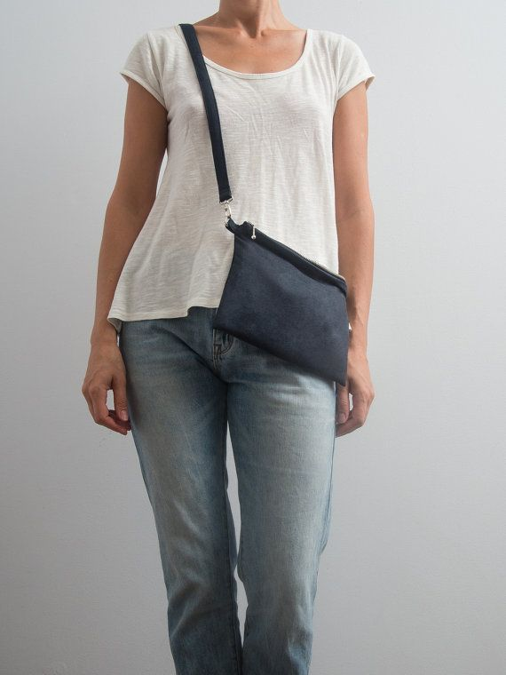 Dark Blue Bag Vegan Suede Bag Faux Suede Purse Crossbody by Marewo, $39.00